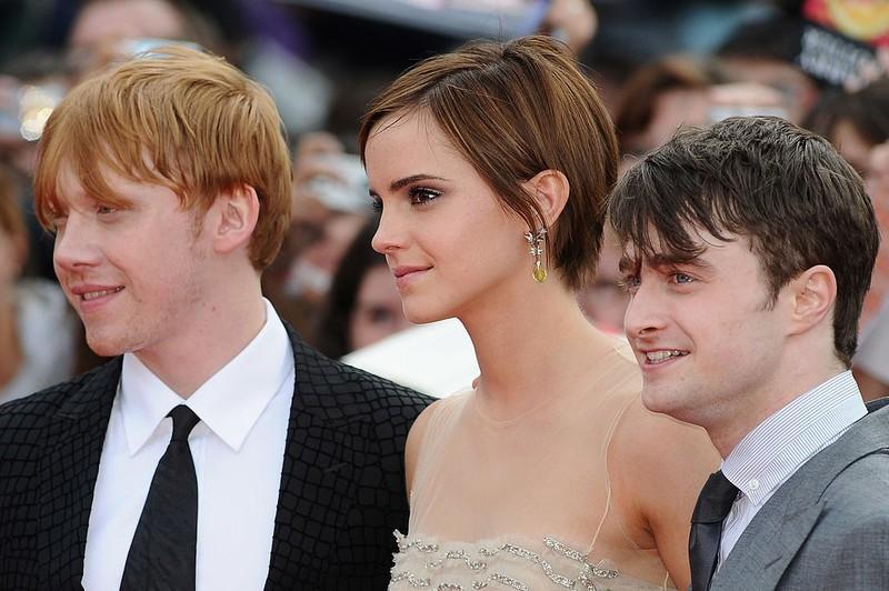 Rupert Grint, Emma Watson, Daniel Radcliffe auf dem roten Teppich