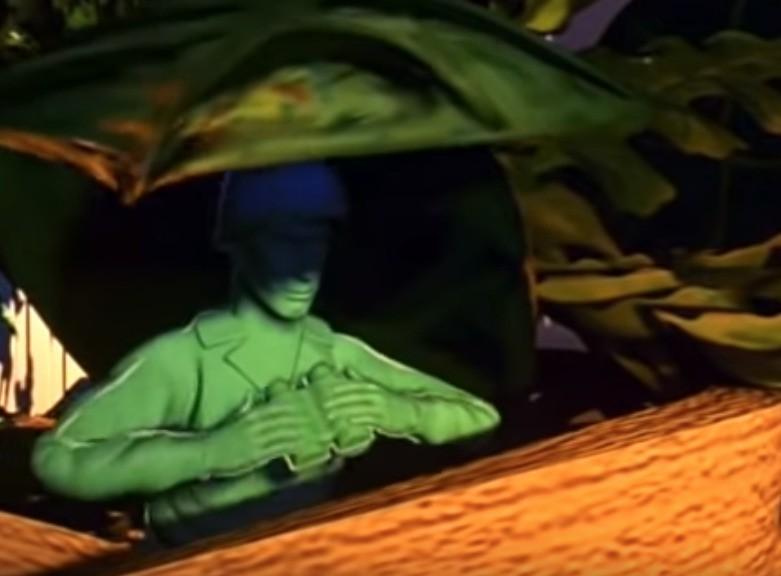 Ein Spielzeugsoldat versteckt sich