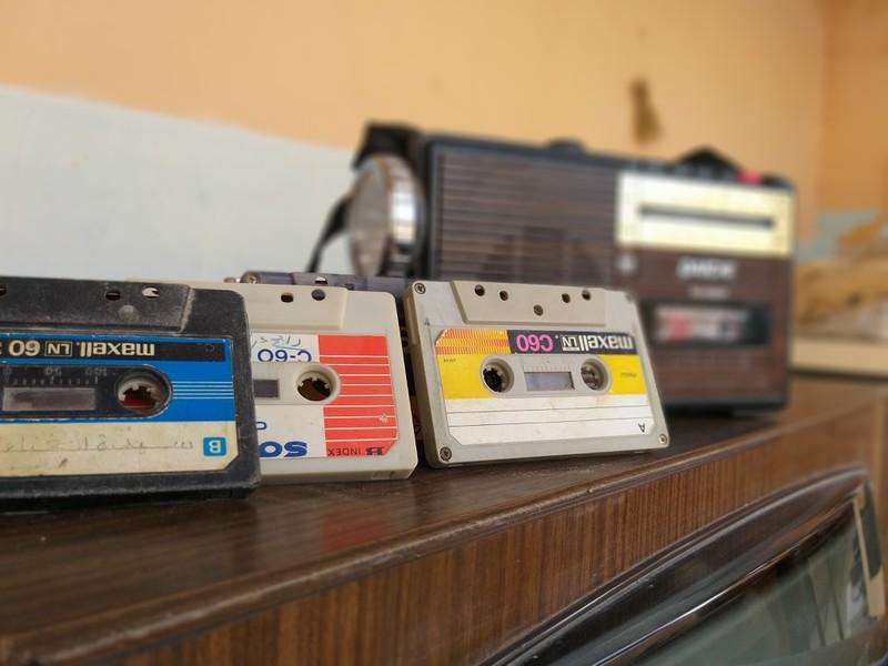 Kassetten, alte Musik, Vintage und Radio
