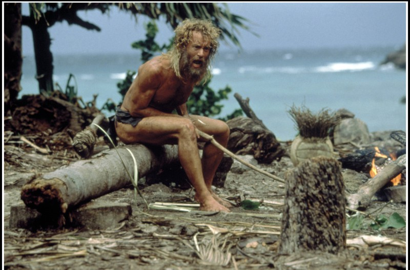 "Tom Hanks in seiner Paraderollen bei ""Cast Away""."