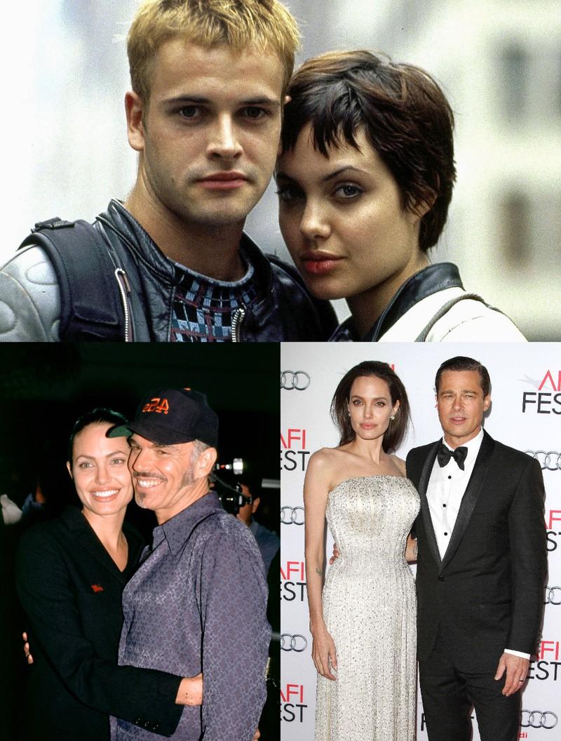 Das Bild visualisiert Angelina Jolie mit ihren drei Ex-Ehemännern: Brad Pitt, Billy Bob Thornton und Jonny Lee Miller