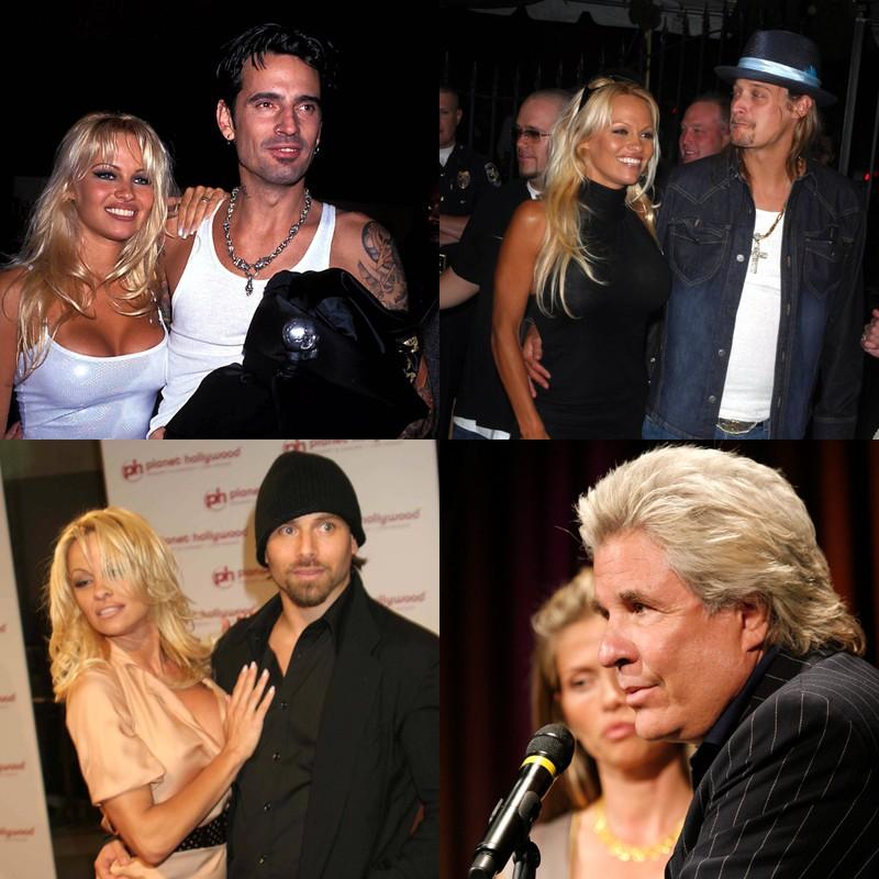 Es sind alle ehemaligen Ehemänner von Pamela Anderson zu sehen: Tommy Lee, Rick Salomon, Jon Peters und Kid Rock