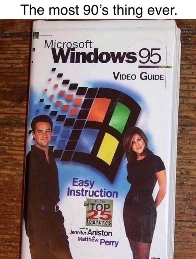 Auf dem Bild sind Windows 95, sowie die Friends-Schauspieler zu sehen