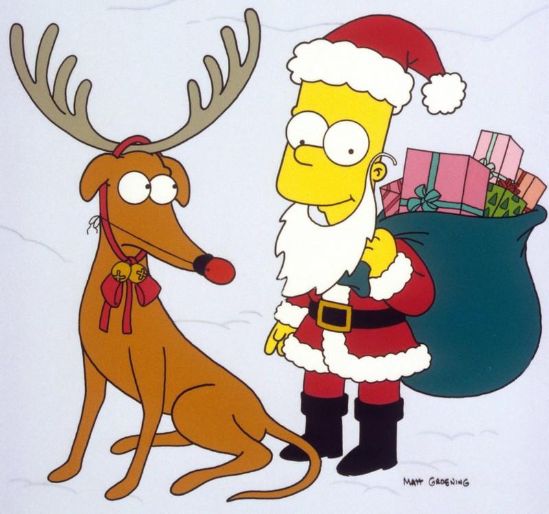 Knecht Ruprecht und Bart Simpson sind zu Weihnachten verkleidet