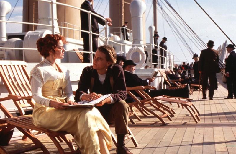 """Rose"" und ""Jack"" am Set des Films Titanic"