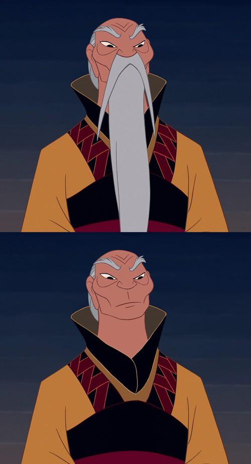 Der Kaiser von China aus Mulan sieht ohne Bart anders aus