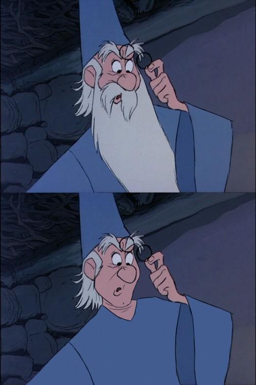 Merlin der Zauberer  Ohne den Bart, ist Merlin kaum wiederzuerkennen.