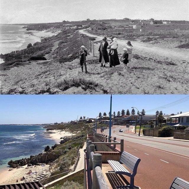 Die Stadt Perth um 1940 und heute.