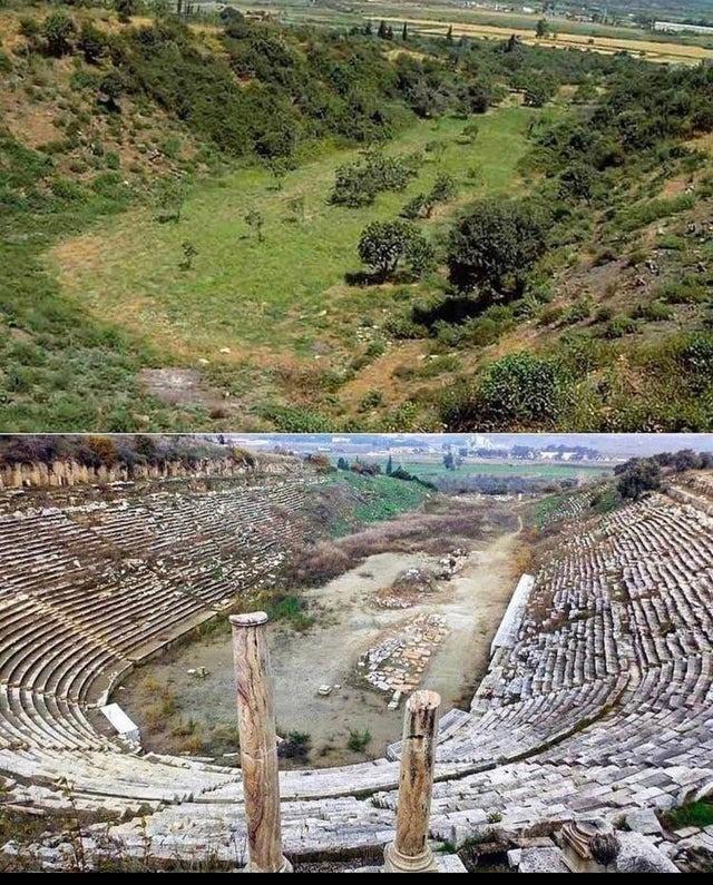 Ein altes Amphitheater, das von der Natur versteckt wurde.