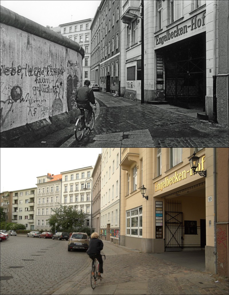 Ein Fahrradweg in Berlin mit 33 Jahren Unterschied