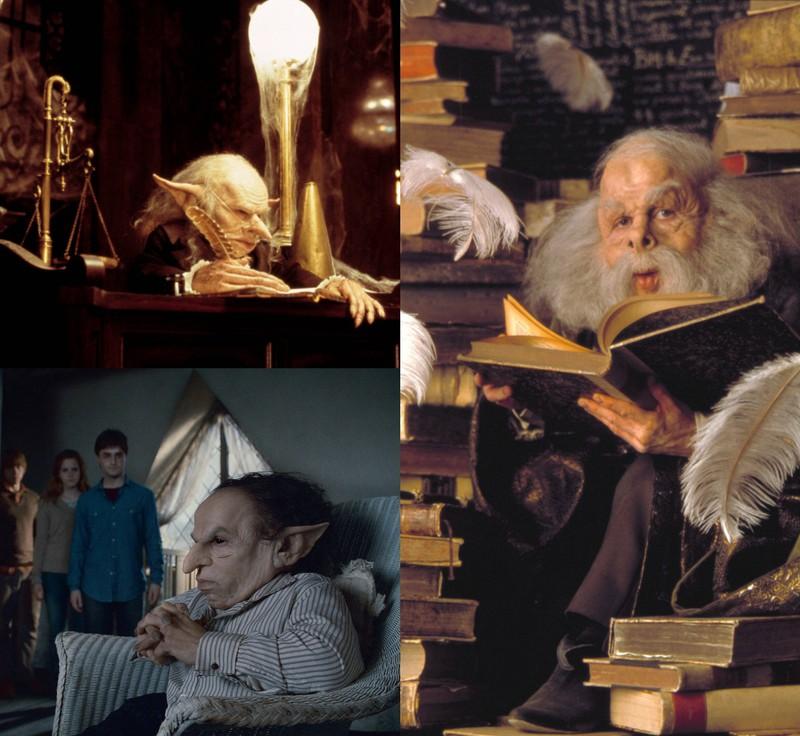 """Bilder aus der """"Harry Potter""""-Reihe, in der Warwick Davis mehrere Rollen hatte"""