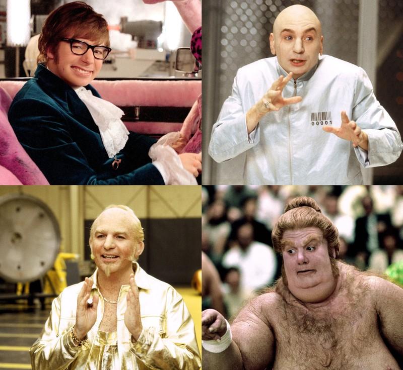 """Eine Collage von allen Rollen, die Mike Myers in """"Austin Powers"""" verkörpert hat"""